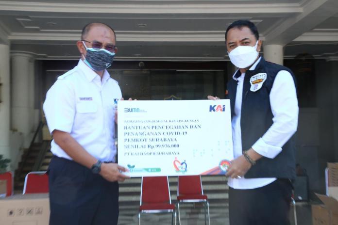 KAI Berikan Bantuan Pencegahan Dan Penanganan Covid 19 Ke Pemkot Surabaya
