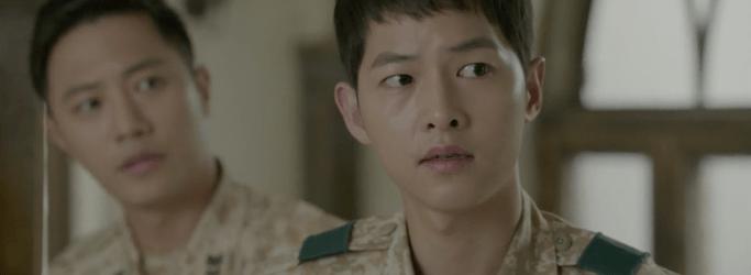 Dua Lead DotS Kapten Yo Si-jin (Song Joong-ki) dan Mayor Seo Dae-young (Jin Goo) Episode 11