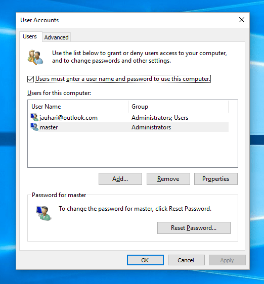 User Accounts Setting Windows 10