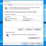 User Accounts Setting Windows 10