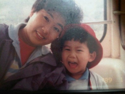 Taecyeon with his mother