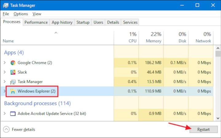 Restart Windows Explorer Di Task Manager