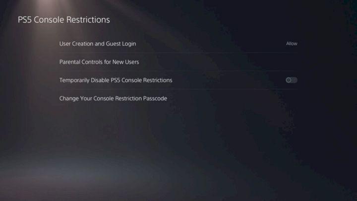 Beberapa Menu PS5 Console Restrictions
