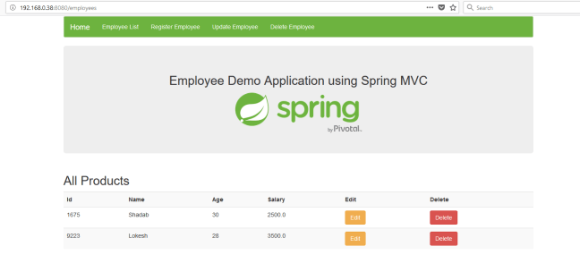showing employees spring mvc