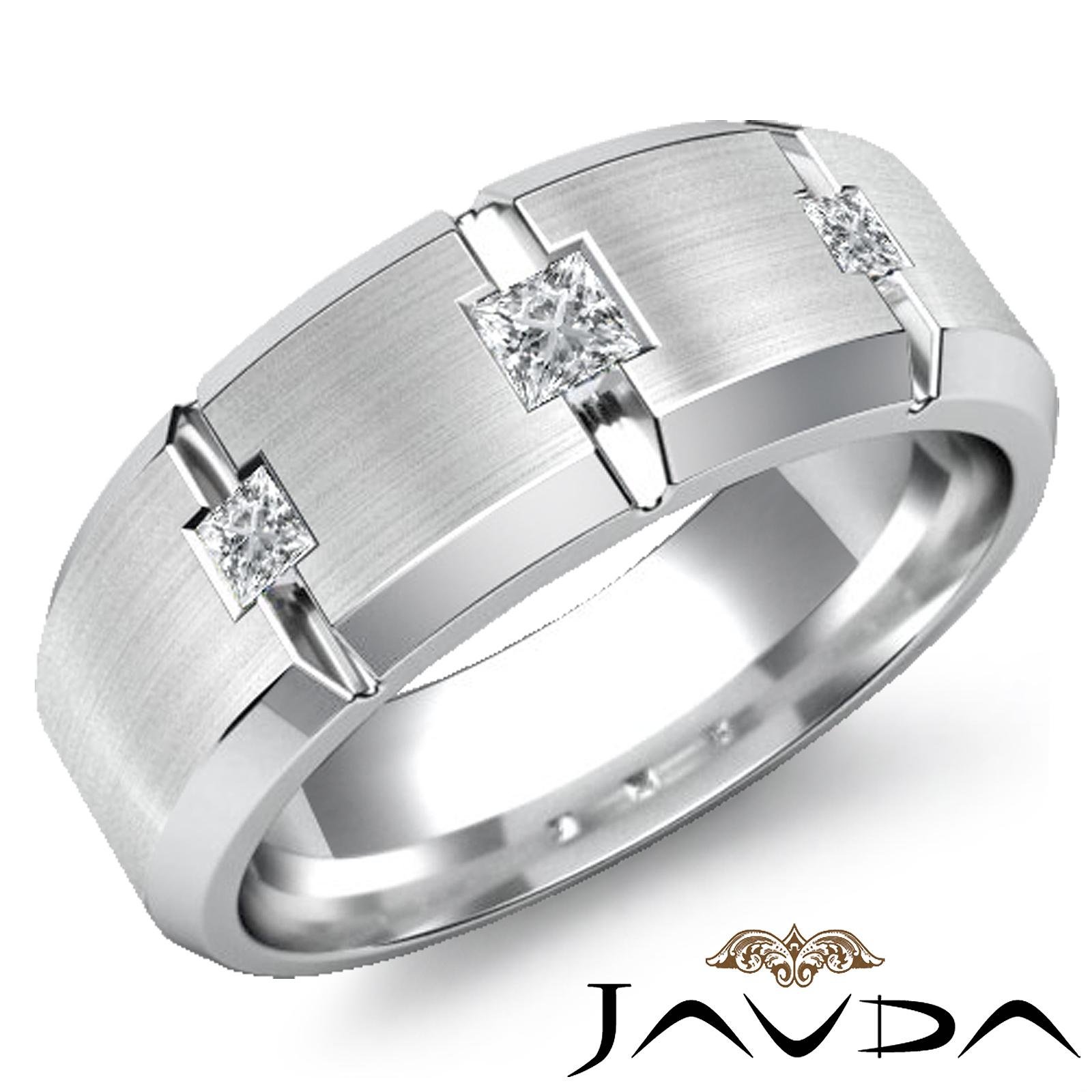 Bezel 3 Stone Diamond Bevel Edge Mens Half Wedding Band