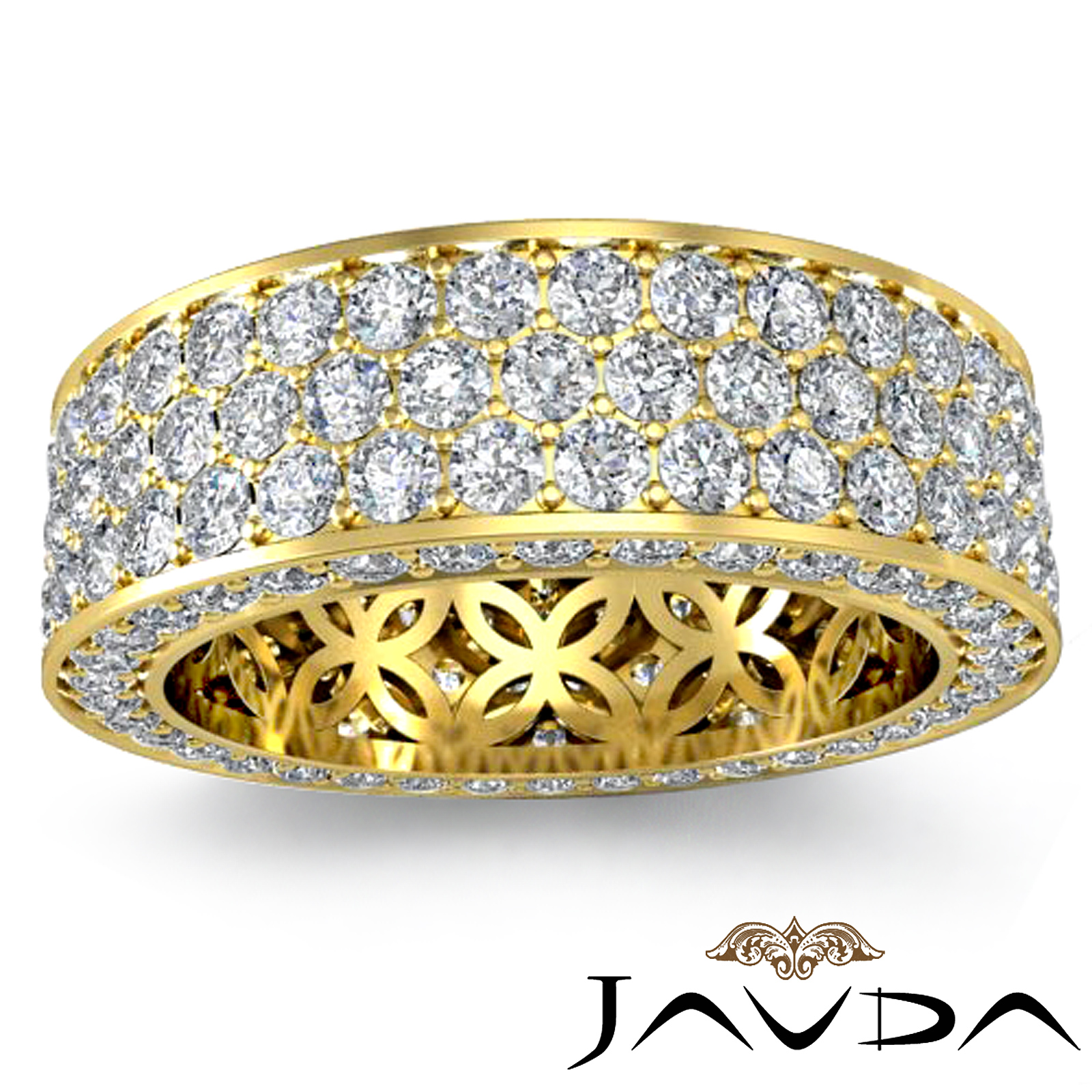 3 Row Womens Anniversary Band 18k Gold Pave Eternity Ring