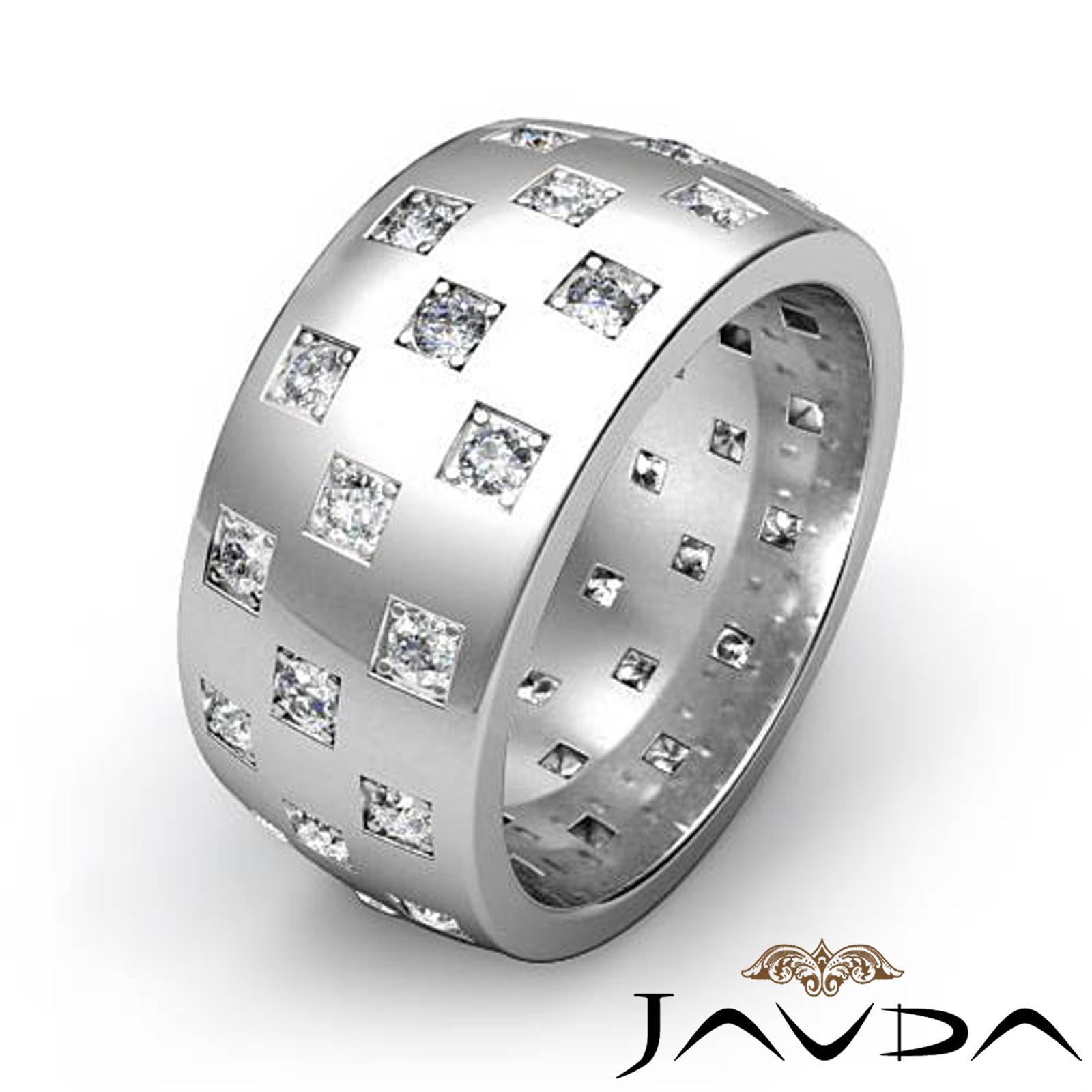 Checkered Design Mens Diamond Eternity Wedding Band 14k