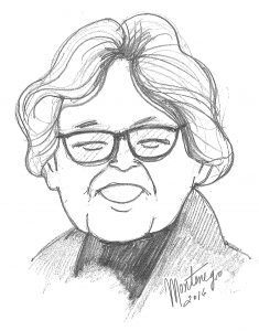 Caricatura de Ángela Calvo de Saavedra