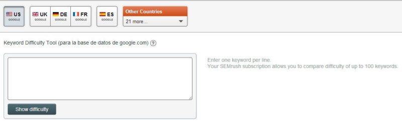 Introducir keywords en Keyword Difficulty Tool