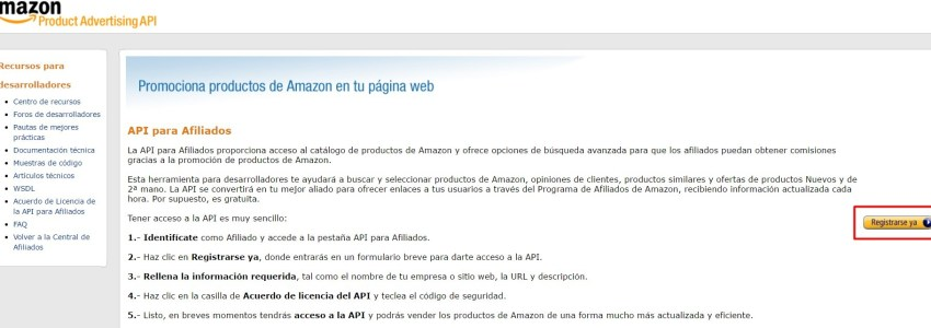 Registro API Amazon