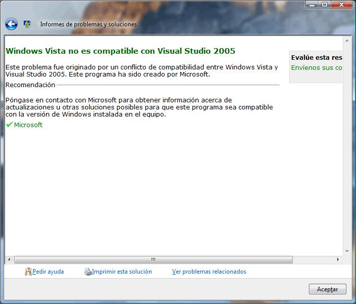 VS 2005 no es compatible con Vista