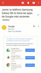 Tu teléfono no tiene las apps de Google más recientes