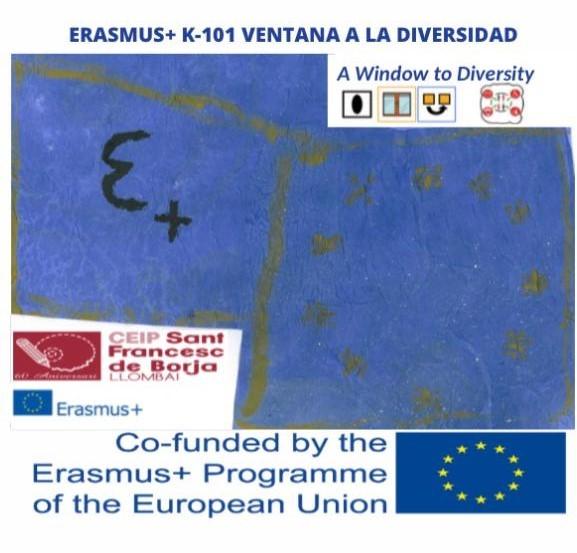 Logo del proyecto Erasmus+ que lleva a cabo la escuela (UE)