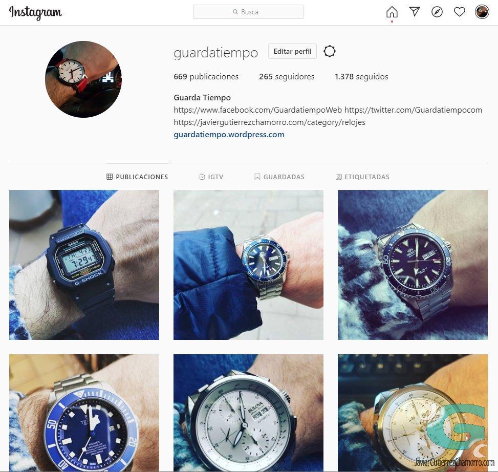 Fotos de relojes en el Instagram de Guardatiempo