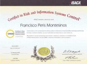 Javier Peris is Certified in Risk and Information System Control by ISACA since 2011