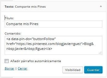Configura Pinterest en Divi 2