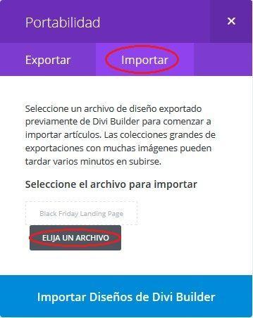 Selección de archivo a importar en Divi