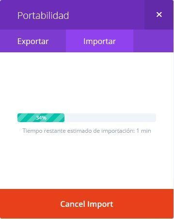 Proceso de importación en Divi