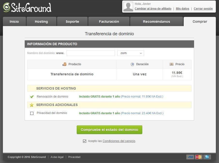 Cómo transferir un dominio a Siteground