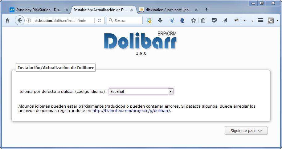 Synology Instalación de Dolibarr 02