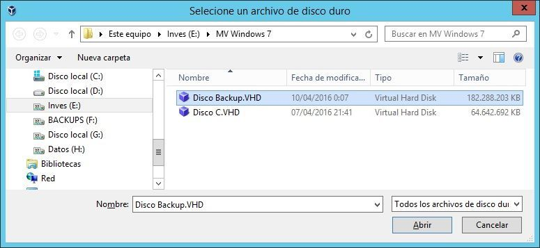 VirtualBox Seleccionar disco VHD