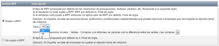 Dolibarr Configuracion general de IRPF