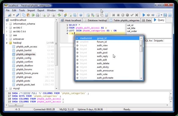 Editor de MySQL con autocompletar