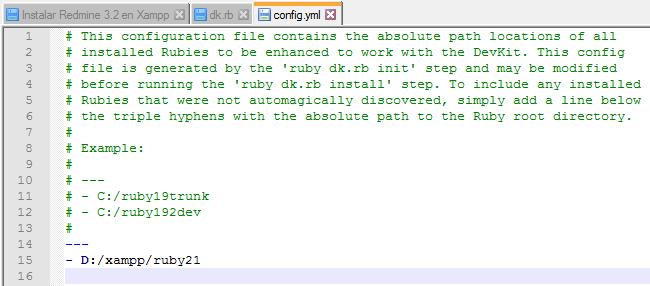 Instalar Redmine 3.2 - Paso 02 DevKits