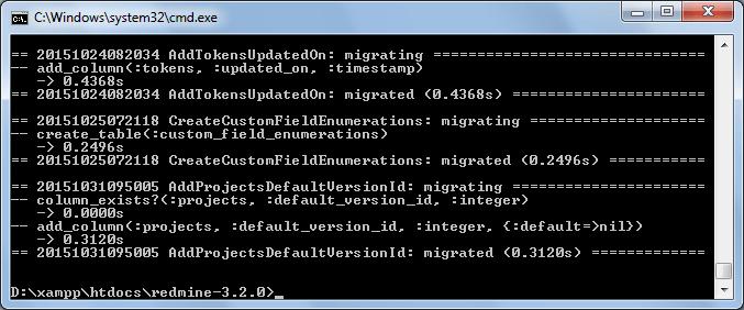 Instalar Redmine 3.2 - Paso 08 Resultado creacion estructura BBDD de Redmine