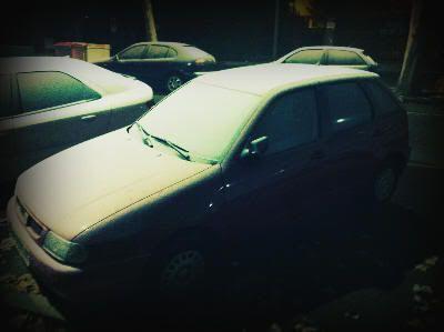 Cencellada blanca sobre nuestro coche