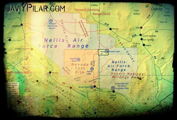 Mapa del Área 51 (Nuevo México, Estados Unidos)