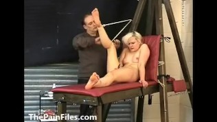 Breast whipping and caning of blonde amateur slave girl Chaos in hardcore bdsm to tears and spanking punishments of tit tortured masochist