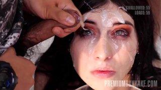 Premium Bukkake – Sheril Blossom swallows 70 big mouthful cumshots