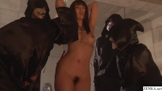 JAV vs occult as a bound Yui Hatano is accosted by Guy Fawkes gentlesirs