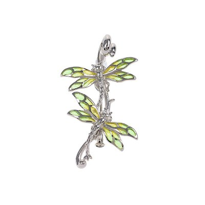 Nicole Barr Sterling Sliver and Green Enamel Double Dragonfly Brooch