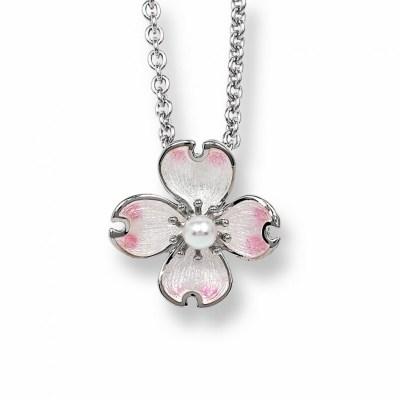 Nicole Barr Silver, Enamel & Pearl Necklace