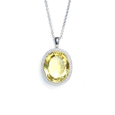 18ct White Gold Citrine & Diamond Pendant