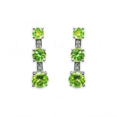 9ct White Gold Peridot & Diamond Earrings