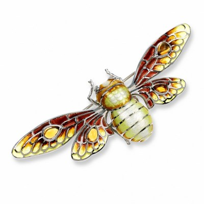 Nicole Barr Sterling Sliver, Diamond & Citrine Bee Brooch / Pendant