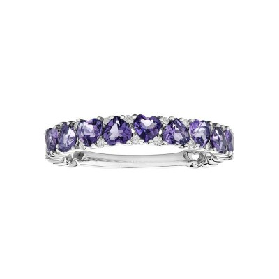 9ct White Gold Amethyst & Diamond Ring