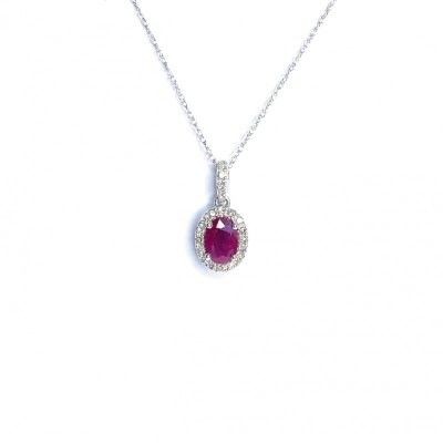 14ct White Gold Ruby & Diamond Pendant