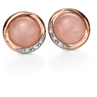 Fiorelli Sterling Silver Rose Gold Plated & Rose Quartz Earrings