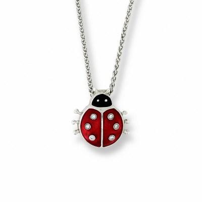 Nicole Barr Silver, Enamel & Diamond Ladybird Pendant