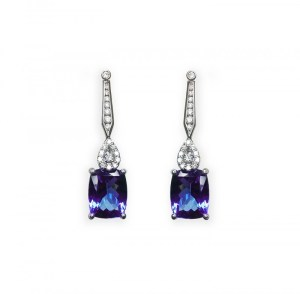 A photo of some white gold tanzanite and diamond earrings