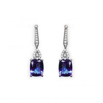 18ct White Gold Tanzanite & Diamond Earrings