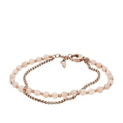 Fossil Pink Semi-Precious Double-Chain Bracelet