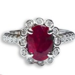 18ct White Gold Ruby & Diamond Cluster