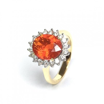 18ct Yellow Gold Fire Opal & Diamond Ring