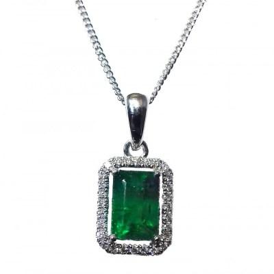 Emerald & Diamond Square Pendant in 18ct White Gold