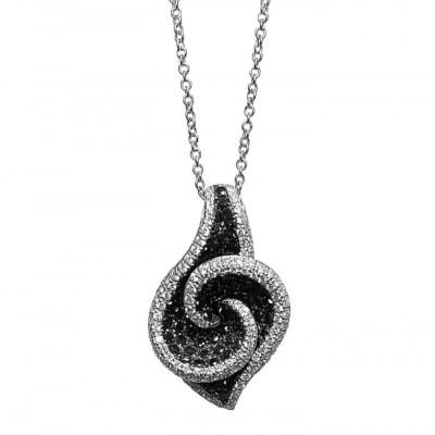 Black & White Diamond Pendant in 18ct White Gold